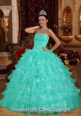 Apple Green Ball Gown Strapless Quinceanera Dress  with  Organza Beading