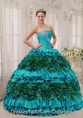 Teal Ball Gown Straplesas Quinceanera Dress with  Taffeta Appliques  Ruching