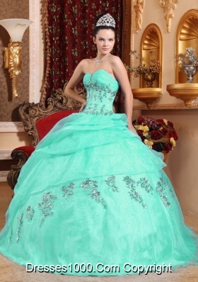 Apple Green Ball Gown Sweetheart Quinceanera Dress with  Organza Beading