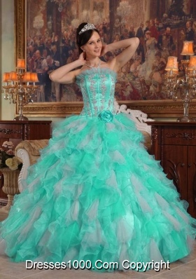 Apple Green Ball Gown Strapless Quinceanera Dress  with  Appliques Organza
