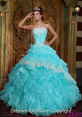 Aqua Blue Ball Gown Strapless Floor-length Quinceanera Dress  with Ruffles Organza