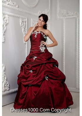 Taffeta Appliques Wine Red Quinceanera Dress with Pick-ups