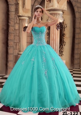 2014 Affordable Turquoise Ball Gown Beading Quinceanera Dress with Appliques