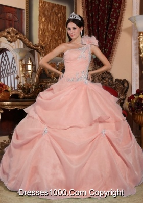2014 Baby Pink Puffy One Shoulder Appliques Quinceanera Dresses with Beading