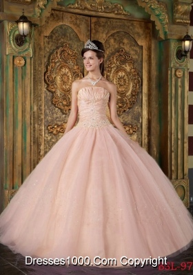 2014 Elegant Pink Ball Gown Strapless Appliques Tulle Quinceanera Dress