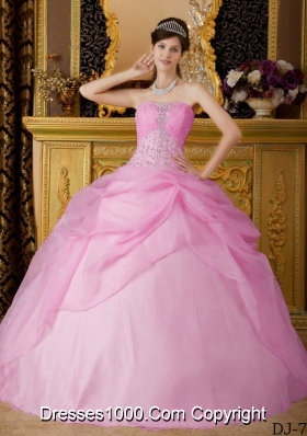 2014 Pink Ball Gown Strapless Beading Quinceanera Dress with Appliques