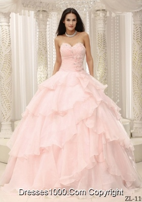 2014 Pretty Sweetheart Ruched Bodice Puffy Quinceanera Dresses