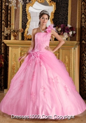 Affordable Pink Ball Gown One Shoulder Appliques Quinceanera Dress with Hand Made Flowers