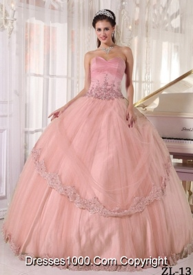 Beautiful Lace Sweetheart Ball Gown Pink Quinceanera Dress with Appliques