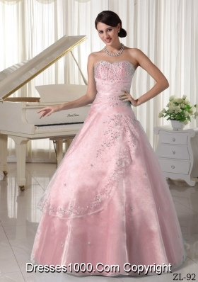 Elegant Organza Appliques Over Skirt Sweetheart Princess Quinceanera Gowns With Beading
