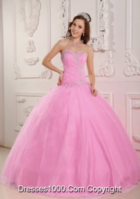 Lovely Ball Gown Sweetheart Appliques Pink Quinceanera Dress with Beading