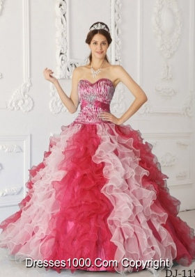 Luxurious A-Line Sweetheart Ruffles Multi-color Quinceanera Dresses with Beading