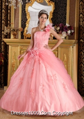 Puffy One Shoulder 2014 Pretty Quinceanera Dress with Appliques