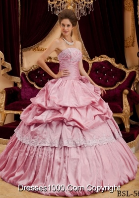 2014 Beautiful Ball Gown Strapless Appliques Pink Quinceanera Dress with Hand Made Flower