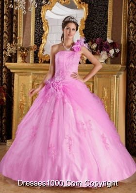 2014 Beautiful Pink Ball Gown One Shoulder Appliques Quinceanera Dress with Hand Made Flower