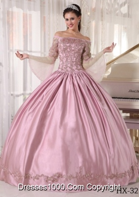 2014 Cute Baby Pink Ball Gown Off The Shoulder Sweet 16 Dresses with Appliques