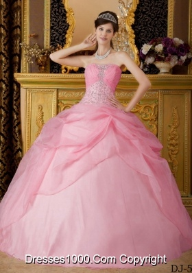 2014 Cute Ball Gown Strapless Beading Quinceanera Dress in Baby Pink