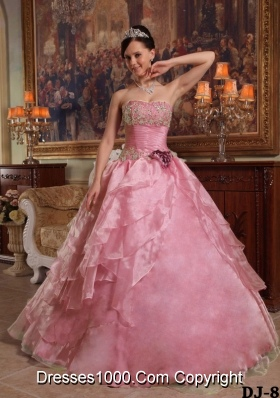 2014 Perfect Rose Pink Ball Gown Strapless Beading Quinceanera Dress with Hand Made Flower