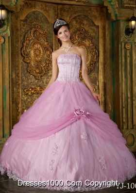 2014 Pink Ball Gown Strapless Appliques Quinceanera Dress with Hand Made Flower