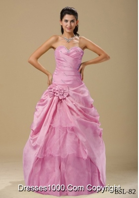 2014 Pink Ruching Pretty Quinceanera Dresses with Hand Made Folwers