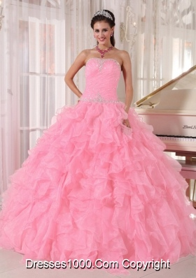 2014 Pretty Baby Pink Beading Ball Gown Quinceanera Dresses with Strapless