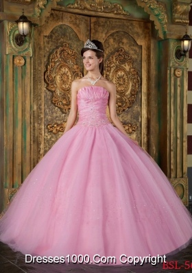 2014 Romantic Rose Pink Ball Gown Strapless Quinceanera Dress with Appliques