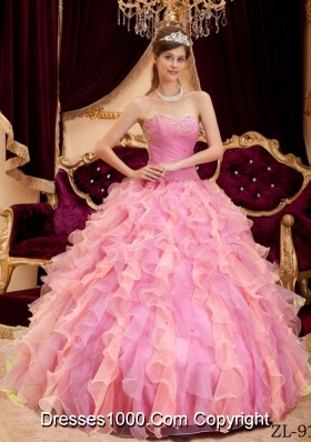 2014 Rose Pink Ball Gown Sweetheart Beading Quinceanera Dress with Pleats