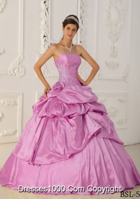 2014 Rose Pink Princess Strapless Beading Quinceanera Dress with Appliques