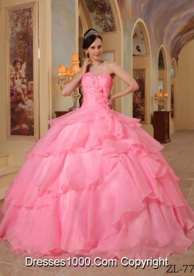 2014 Watermelon Ball Gown Sweetheart Beading Quinceanera Dress with Appliques