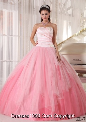 Affordable Rose Pink Sweetheart Ball Gown Beading and Appliques Quinceanera Dress