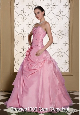 Beaded Decorate Bust Sweet Quinceanera Dresses with Hand Made Flower For 2014