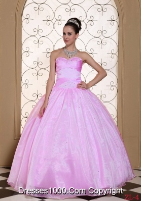 Beautiful 2014 Pink Beading Quinceanera Dresses with Sweetheart