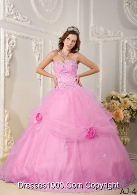 Beautiful Pink Ball Gown Sweetheart Appliques Quinceanera Dress with Hand Made Flowers