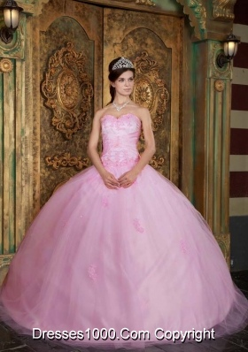 Elegant Baby Pink Ball Gown Sweetheart Quinceanera Dress with Appliques