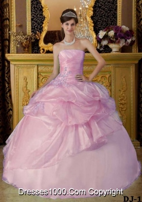 Light Pink Ball Gown Strapless Beading Quinceanera Dress with Appliques