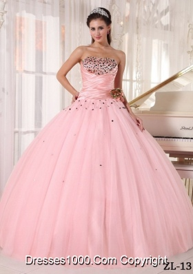 Lovely Pink Beading Ball Gown Strapless Quinceanera Gowns with Ruching
