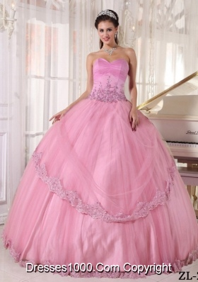 New Style Sweetheart Appliques Pink Dress For Quinceanera 2014