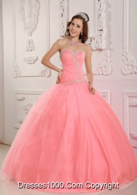 Pink Ball Gown Floor-length Appliques Quinceanera Dress with Sweetheart