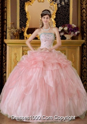 2014 Beautiful Pink Ball Gown Strapless Beading Quinceanera Dress with Pick-ups