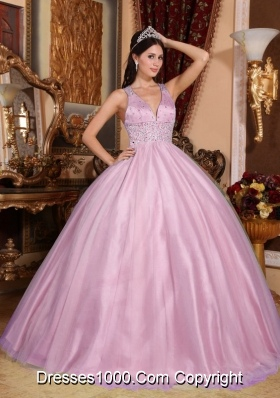2014 Cute Pink Ball Gown V-neck Quinceanera Dress with Beading