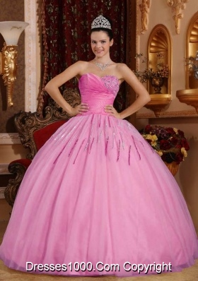 2014 Exclusive Rose Pink Puffy Sweetheart Beading Quinceanera Dress