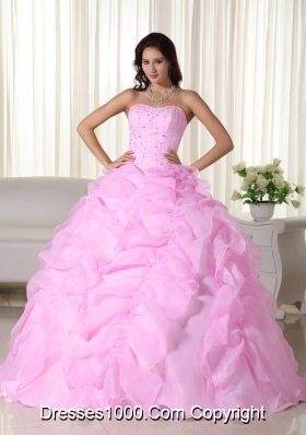 2014 Exquisite Pink Puffy Strapless Beading Dress For Quinceanera with Ruffles