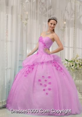 2014 Gorgeous Pink Ball Gown Sweetheart Appliques Quinceanera Dress