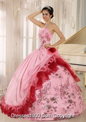 2014 Modest Applqiues Quinceanera Dress with Hand Made Flowers