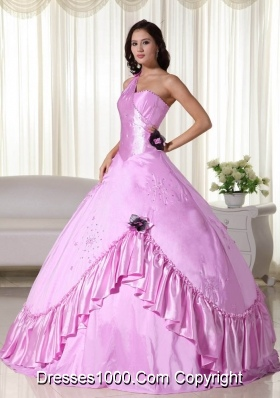 2014 Pink Ball Gown One Shoulder Appliques Quinceanera Dress with Beading