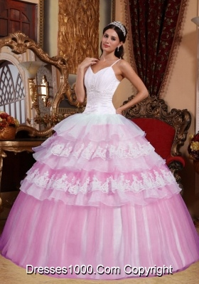2014 Pink Ball Gown Spaghetti Straps Appliques Quinceanera Dress with Ruffled Layers