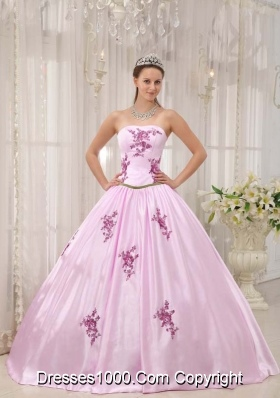 2014 Popular Pink Ball Gown Strapless Appliques Quinceanera Dress