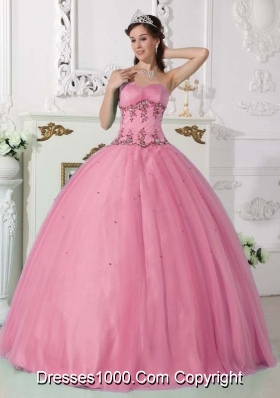 Beautiful Pink Puffy Sweetheart 2014 Quinceanera Dress with Beading