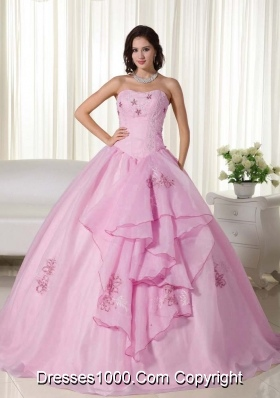 Gorgeous Baby Pink Ball Gown Strapless Embroidery Quinceanera Dress with Beading