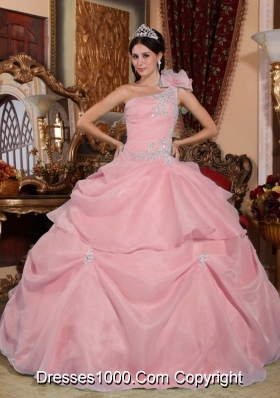 Lovely Pink Ball Gown One Shoulder Quinceanera Dress with Appliques